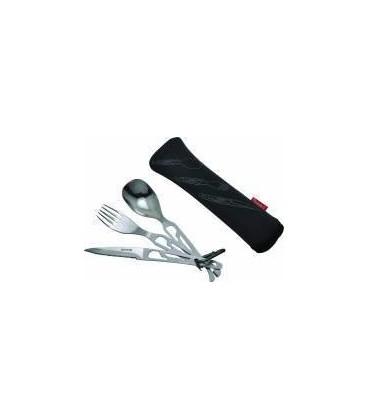 Cuchara, cuchillo, tenedor, abridor latas y abridor botellas