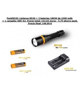 PackSD20 submarinismo (Fénix Sd20 1000 Lúmens + 2 x 18650 ARB-L18-2600 + 1 X ARE-A2)