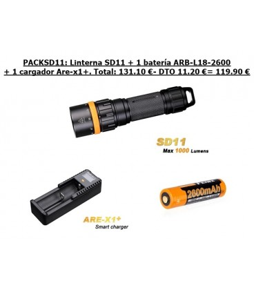 PackSD11: Linterna Fénix SD11+Batería ARB-L18-2600+Cargador ARE-X1+