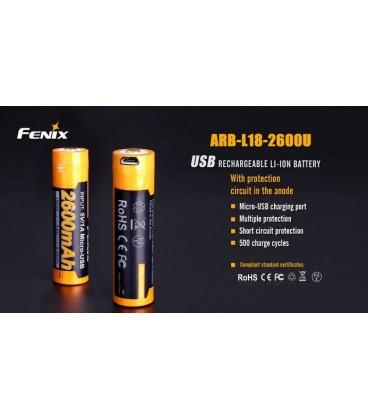 Batería recargable por micro USB 18650 de 2600 mAh