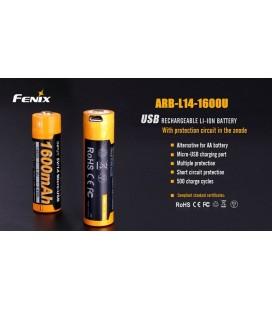 ARB-L14-1600U Batería recargable por micro USB 14500 de 1600 mAh