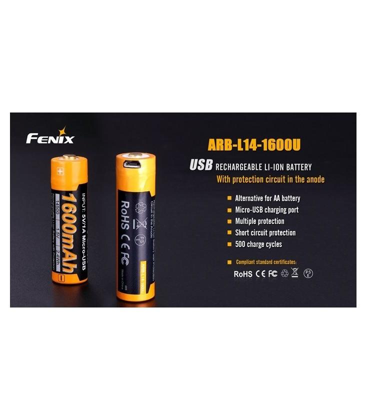 5774cb1ba7c ARB-L14-1600U Batería recargable por micro USB 14500 de 1600 mAh ...