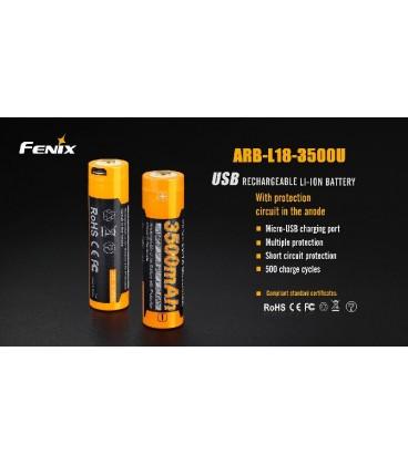 Batería Fénix 18650 3500 mAh recargable por Micro USB