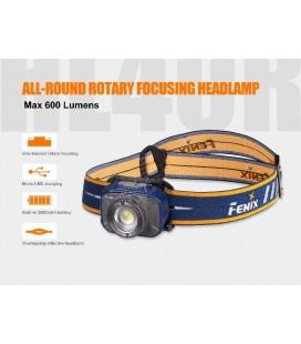 Frontal Fénix HL40R con zoom 600 lúmenes y batería recargable