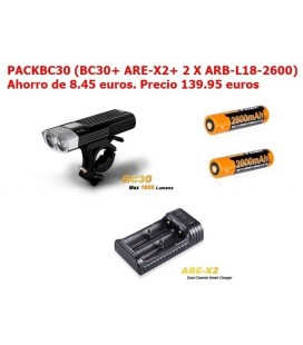 PACKBC30 Foco Bici Led Fénix Bc30 1800 Lumens, 5 Modos Y Flash PACKBC30 (BC30+ 2 X ARB-L18-2600 + 1 X ARE-X2