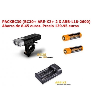 Pack Foco Bici Led Fénix Bc30 1800 Lumens, 5 Modos Y Flash PACKBC30 (BC30+ 2 X ARB-L18-2600 + 1 X ARE-X2