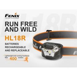 Frontal Fenix HL18R 400 lúmenes luz cálida para trailrunning (incluye batería recargable y funciona con 3 pilas AAA también)