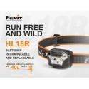 Frontal Fenix HL18R 400 lúmenes trailrunning (funciona con batería recargable incluida o 3 pilas AAA Alcalinas)