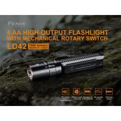 Linterna Fénix LD42 1000 lumenes (4 pila AA incluidas)