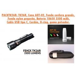 PACKTK26R: Linterna TK26R + Cono tráfico blanco AOT-02 + Funda de cordura