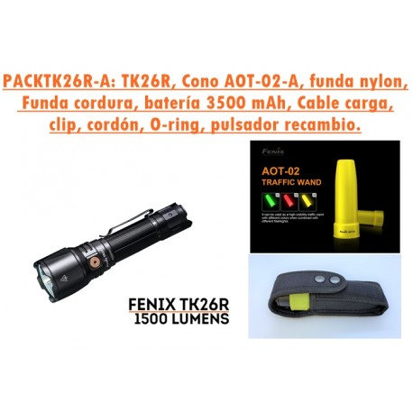 PACKTK26R: Linterna TK26R + Cono tráfico Amarillo AOT-02-A + Funda de cordura