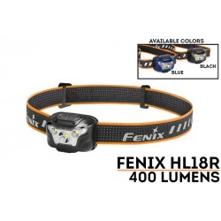 Frontal HL18R 400 lúmenes luz cálida para trailrunning (incluye batería recargable y funciona con 3 pilas AAA también)