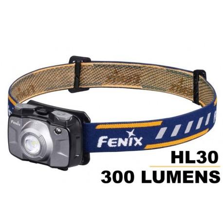Frontal Fénix HL30 Gris 300 Lúmenes (2XAA)